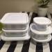 子育て中の常備菜。白いフタがシンプルなニトリのパック&レンジは安くて便利です。